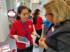 Our CEO talking with another GET Summit participant Educational Technology, Instructional Technology