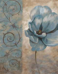 Vivian Flasch Fleur Bleue II painting is shipped worldwide,including stretched canvas and framed art.This Vivian Flasch Fleur Bleue II painting is available at custom size. Vintage Flowers, Blue Flowers, Decoupage Paper, Paper Background, Belle Photo, Painting & Drawing, Flower Art, Canvas Wall Art, Art Prints