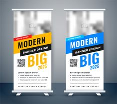 Creative blue and yellow rollup standee banner Vector Image , Banner Rollup, Rollup Banner Design, Best Banner Design, Banner Vector, Banner Template, Low Poly, Standing Banner Design, Standee Design, Free Banner