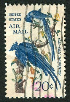 Timbre collection USA Oiseaux Audabon 1785-1851 20 cents
