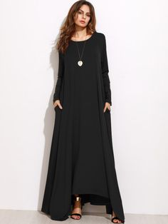 Vestido maxi recto de manga larga - negro