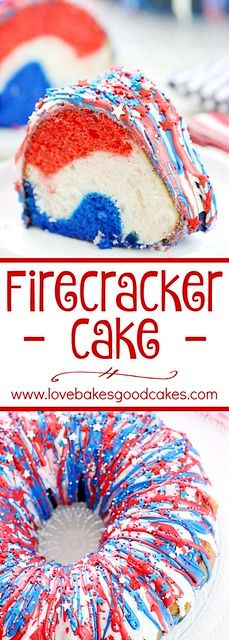 Cake Show your patriotism with this Firecracker Cake! The red, white, and blue runs inside and out! Great for Memorial Day, the of July or any occasion you want to share a little American pride!Inside Inside may refer to: 13 Desserts, Patriotic Desserts, 4th Of July Desserts, Brownie Desserts, Fourth Of July Food, Patriotic Party, 4th Of July Party, Holiday Desserts, Holiday Baking