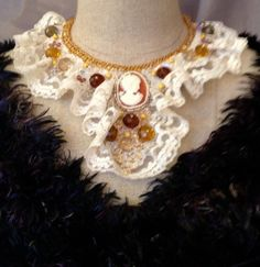 Bead Embroidered Collar Victorian Fantasy by bjswearableart, $125.00 #RT #promooasis #promoasis