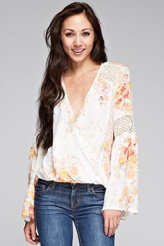 fc32a0f19309 Bell Sleeve Printed Surplice Top
