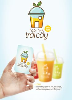 "Logo and responsive website by Ngoc Thuy Do, for Ngôi Nhà Trái Cây (""The Fruit House"") ,a smoothies and juice delivery service in HCMC, Vietnam. Logo idea is a mixing of ""fruit"" and ""house"" images into the ""one-time using cup"" which presents deliveryed a…"