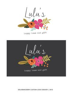 Deluxmodern Design | Custom Logo for Lulu's.  Love love love the font, colors, and floral drawing. So cute and feminine.