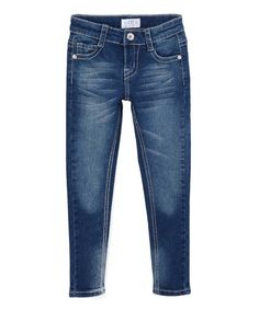 Love this Dark Blue Sandblast Jeans - Girls by miniMOCA on #zulily! #zulilyfinds