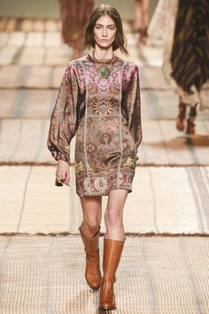 Medium Brown with Pink Paisley Short Dress with Long Sleeves by Etro, Look #18