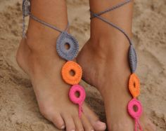Beach wedding White Crochet Barefoot Sandals Nude shoes Foot