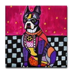 Boston Terrier Art Tile dog coasters  BOSTON by HeatherGallerArt, $20.00