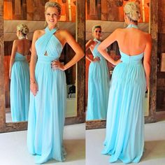 Halter Backless Prom Dresses, Light Sky Blue Chiffon