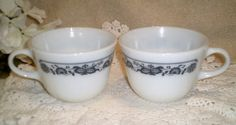Pair Pyrex Old Town Blue Onion Coffee Cup by ItHasGotToGo on Etsy