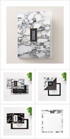 Monogram Black White Marble
