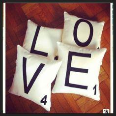 "Scrabble Tile ""LOVE"" Pillows!"