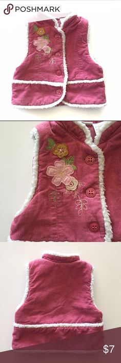 b.t. Kids Puffer Vest Pretty pink corduroy puffer vest with flower patchwork, faux sheep skin trim and satin lining. Jackets & Coats Vests