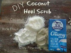 Coconut Heel Scrub - This bath and body scrub recipe shows you how to make a delightful coconut scrub. Make Beauty, Beauty Care, Heel Scrub, Coconut Scrub, Dry Heels, Cellulite Scrub, Body Scrub Recipe, Healing Clay, Diy Lotion
