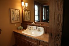 Great Sink in a Rustic setting. Montana Homes, Home Builders, Double Vanity, Custom Homes, Building A House, Sink, Construction, Rustic, Mirror