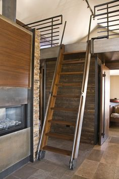 Ladder for Stairwell that You Looking for : Awesome Ladder For Stairwell With Iron Handrails And Wood Steps