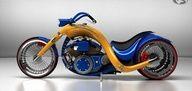 STRANGE CUSTOM RUSSIAN MOTORCYCLES - BLUE & GOLD