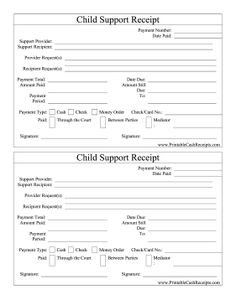 Catalogue child support provided through the court or directly to the offspring with this printable receipt. Free to download and print