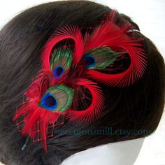 Peacock Headband - BRIAR ROUGE - Peacock and Red Feather Veiling Headband. $25.00, via Etsy.