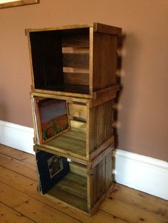 Vinyl record/LP stackable wooden crate for great by SawToothTimber