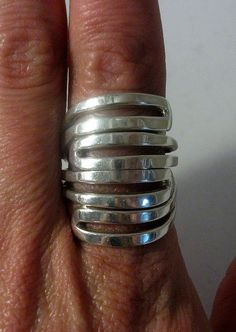 Large Sterling Silver Ring 12 Grams by onetime on Etsy, $13.25