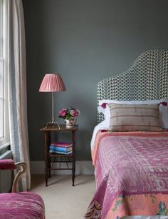 Kate Guinness bedroom with soft charcoal walls, boho headboard, deep rose handwoven textiles. Teenage Girl Bedroom Designs, Teenage Girl Bedrooms, Girls Bedroom, Shared Bedrooms, Master Bedrooms, Pink Home Decor, Cheap Home Decor, Home Bedroom, Bedroom Decor
