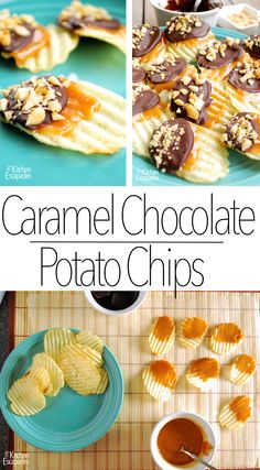 Caramel Chocolate Covered Potato Chips - no bake, no stove! perfect summer treat and it is gluten free! My Kitchen Escapades(Chocolate Covered Chips) Carmel Chocolate, Chocolate Caramels, Homemade Chocolate, Sweets Recipes, Appetizer Recipes, Cooking Recipes, Desserts, Appetizers, Yummy Snacks