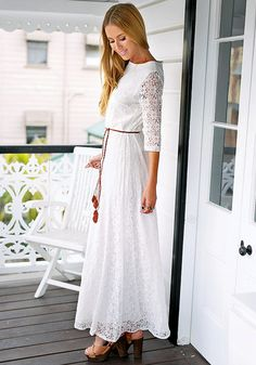 Modest floral maxi lace dress available at Mode-sty