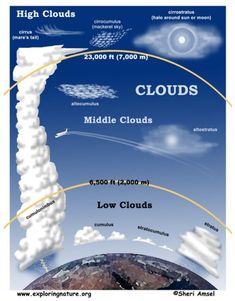 - classical conversations cycle 1 week 23 - science - kinds types of clouds - free x 11 printable cloud poster and more info. Earth And Space Science, Earth From Space, Science For Kids, Science And Nature, Science Fair, Teaching Science, Science Education, Science Activities, Weather Activities
