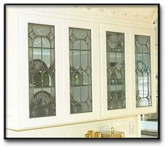 White leaded glass cabinet. #StainedGlassKitchen | Stained Glass ...