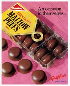 Griffin's MallowPuffs NZ Advert, mid 1972. Image google search - facebook Retro Recipes, Vintage Recipes, Vintage Advertisements, Vintage Ads, Vintage Food, Kiwiana, All Things New, Kids Growing Up, Those Were The Days