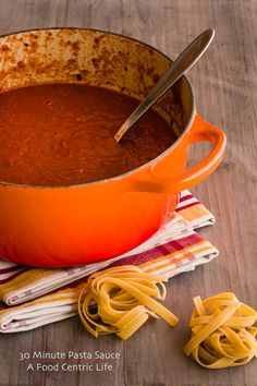 30 minute pasta sauce, spaghetti sauce, or marinara. Make from a few staples in your pantry. Healthier, easy and leftovers freeze great for the future