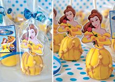 Belle from Beauty & the Beast Cake Pops Princess Belle Party, Princess Cake Pops, Mini Tortillas, Cake Pop Maker, Belle Cake, Beauty And The Beast Party, Bakerella, Cookie Pops, Birthday Fun