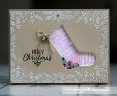 Christmas Shaker Card made using the Hang Your Stocking stamps and matching dies from Stampin Up by UK Demo Michelle Last, Visit my shop to order products