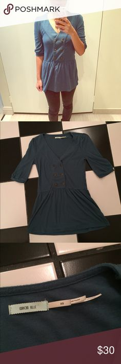 Kimchi Blue tunic top Kimchi Blue blue tunic top. About 28 inches long from the shoulder to bottom of tunic. Gentle wear in good condition, some minor pilling. Please ask all questions before purchasing and use the offer button, thanks! Kimchi Blue Tops Tunics