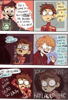 After i discovered Harley Keener would be part of Avengers this just popped! And i didnt want to loose the idea, so HERE IT ISSSSS BONUS: Avengers Humor, Avengers Comics, Funny Marvel Memes, Marvel Jokes, Dc Memes, Funny Comics, Baby Avengers, Avengers Quotes, Avengers Imagines