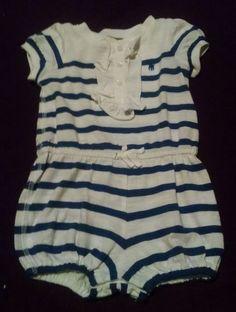 Ralph Lauren Blue & White Striped Romper Girls Size 6 Months Ralph Lauren  #RalphLauren