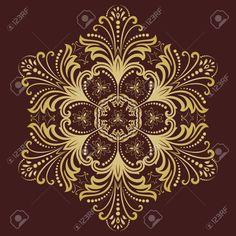 Damask Vektör Arabesk Ve Oryantal Altın Unsurları Ile çiçek Deseni. Duvar…