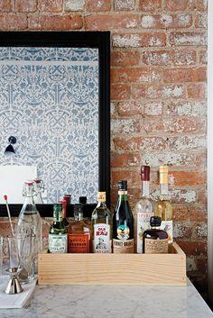 in-room bar at Wythe Hotel, brooklyn.