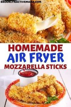 Jan 2020 - Check out this amazing and healthy homemade air fryer mozzarella sticks--They are delicious without all of the guilt--they use NO OIL and are seasoned to perfection. Air Frier Recipes, Air Fryer Oven Recipes, Air Fryer Dinner Recipes, Appetizer Recipes, Appetizers, Mozzarella Sticks Recipe, Cheese Sticks Recipe, Air Fryer Healthy, Cooking Recipes