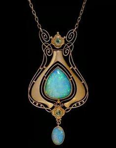 Opal and peridot pendant