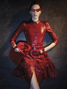 Unusual red leather outfit!  Look at the 'glasses' :D #MillionDollarShoppersDanielle