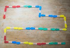 Domino des couleurs avec des batonnets de glace magnum DIY