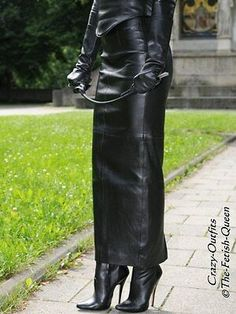 leather skirt - designed by Crazy Outfits Long Leather Skirt, Long Leather Coat, Leather Dresses, Leather Gloves, Leather Pants, Thigh High Boots Outfit, Black Thigh High Boots, High Heel Boots, Hobble Skirt