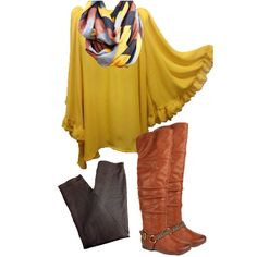 Nellie Mae Boutique Tunic $34; Leggings $12; Scarf $10; Boots $42  #fallstyle #fallfashion #fallscarf #boots #nelliemae https://www.facebook.com/nelliemae110