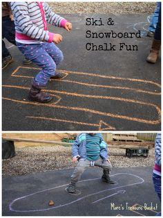 Get Outside for some Ski & Snowboard Chalk Fun #diy