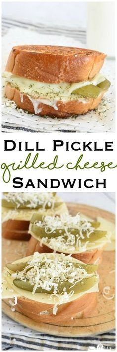 Dill Pickle Grilled Cheese Sandwich comfort food parmesan dill crust lunch Related Vegan-Friendly Recipes for Grill SeasonGrilled Eggplant with Garlic-Cumin Vinaigrette, Feta, and Herbs is a delicious w. Yummy Appetizers, Yummy Snacks, Delicious Desserts, Yummy Food, Yummy Mummy, Grilled Sandwich, Soup And Sandwich, Steak Sandwiches, Sandwich Ideas