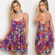 Purple Floral Print Open Back Dress